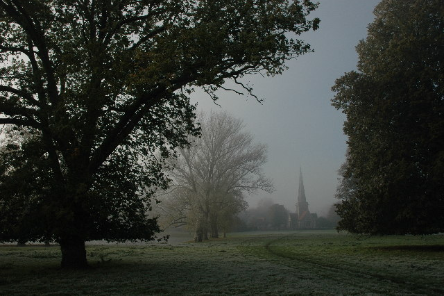 Shottesbrooke Church through parkland
