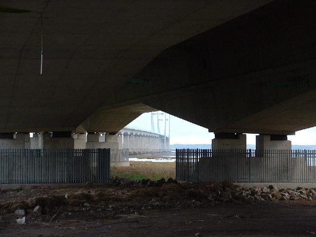 Underneath the Second Severn Crossing bridge