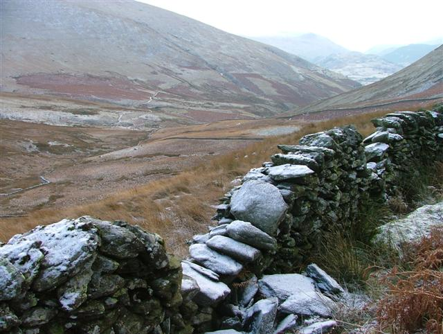 Wall and View Down Glenderaterra Valley