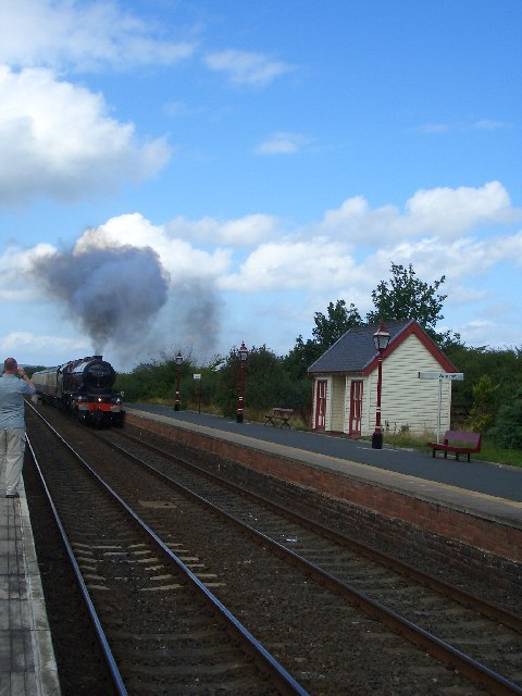 Langwathby Station with steam train