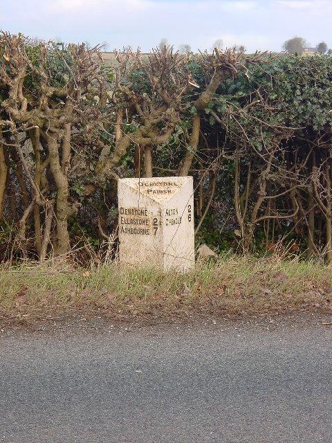 Mile Post on the edge of Denstone