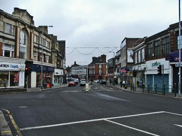 Green Lanes looking north from the traffic island at the Triangle