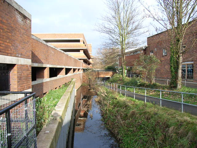 Hines Place Car Park and a stream, Maidenhead