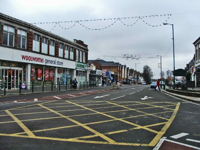 Green Lanes looking south from the traffic island at the Triangle