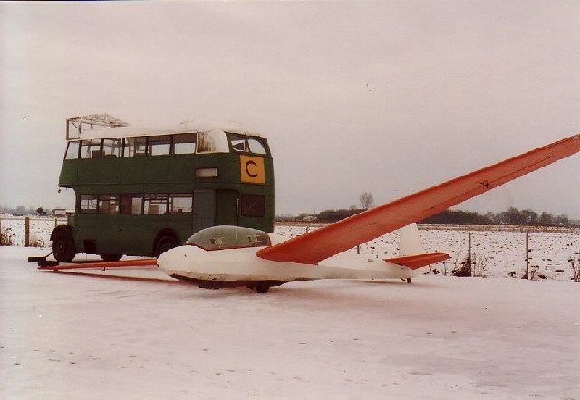 Mobile clubhouse and glider, Rufforth Airfield