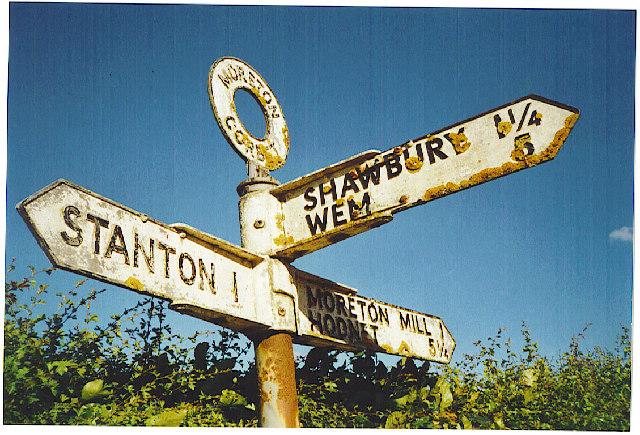 Moreton Corbett signpost