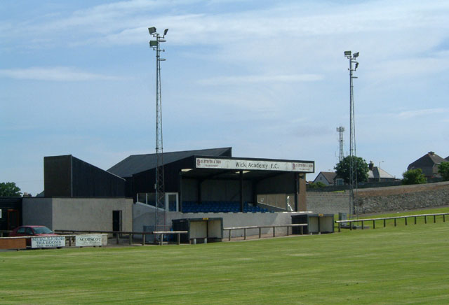 View of main stand at Wick FC's Harmsworth Park