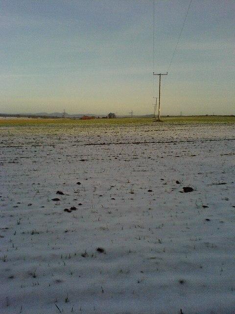 Looking across farmland to Merriness