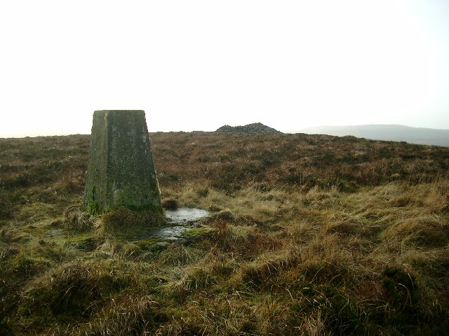Trig point and cairn on Dungavel Hill