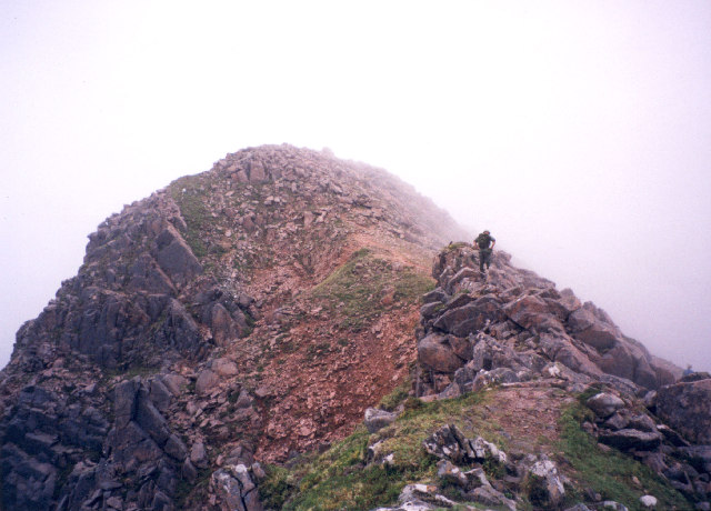 on the rocky spinal ridge of the Mamores