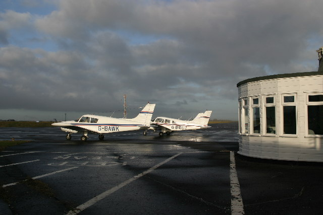 Light aircraft parked outside Aero Club