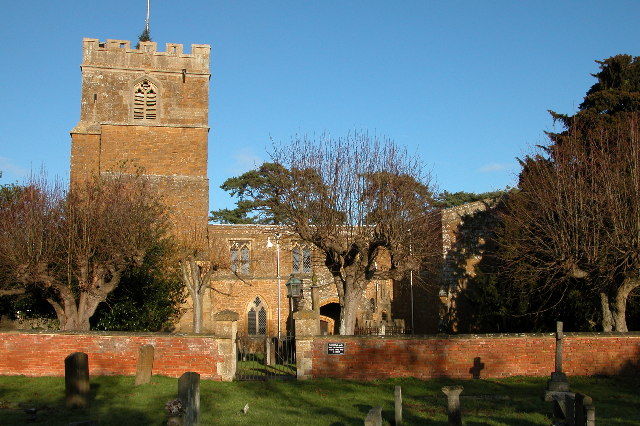 Ilmington church in the bright New Year's day sun