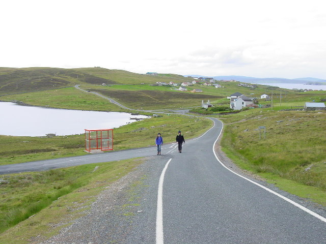 Walking across Whalsay on the road from Symbister to Isbister
