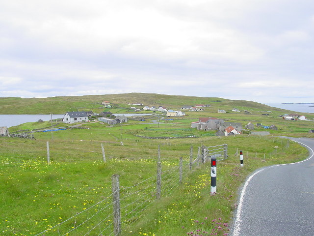 The road leading into Isbister, Whalsay