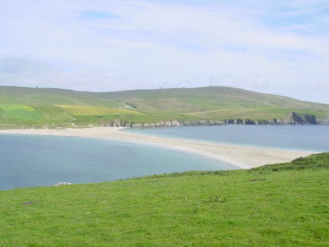 Tombolo linking St Ninian's Isle to the Shetland Mainland.
