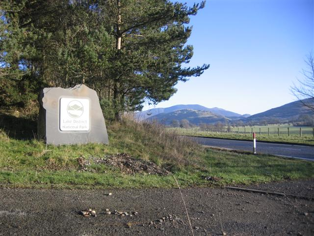 Lake District National Park Sign.