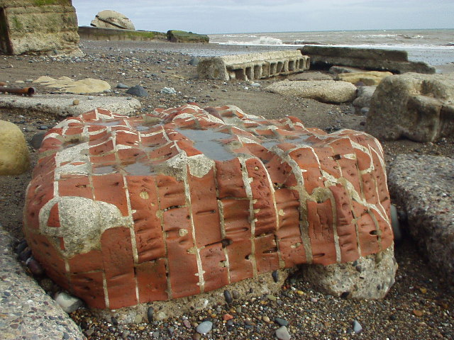 Brickwork on Kilnsea beach