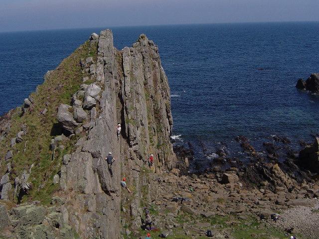 Rock climbing at Logie Head
