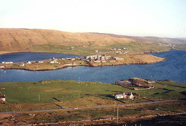 Sound (this side) and Hellister (far side), Weisdale Voe, Shetland