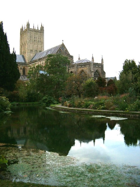 Wells Cathedral from the gardens of the Bishop's Palace