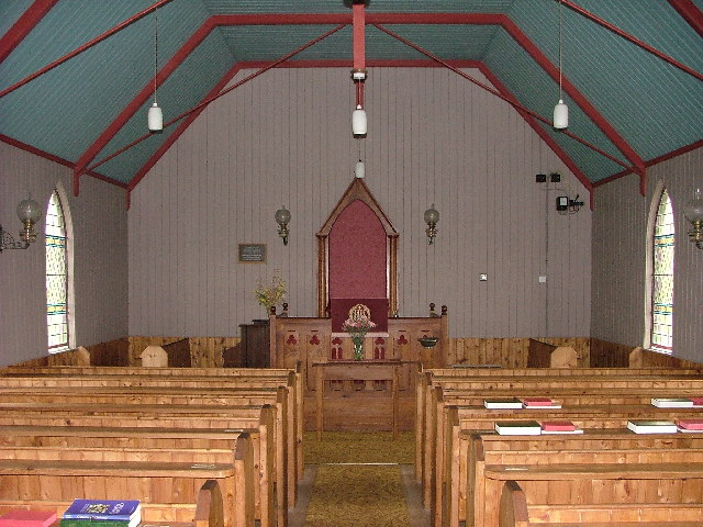 Inside the 19th C corrugated iron church at Syre