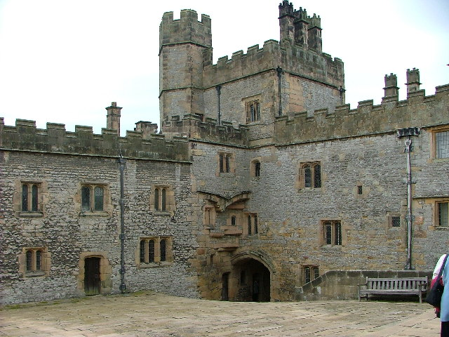 The gatehouse from inside the courtyard at Haddon Hall