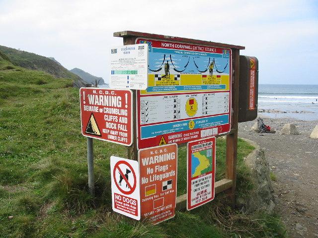 Signs at Crackington Haven Cornwall