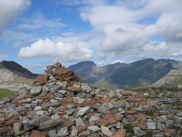 Summit of Sgurr Eilde Mor with Ben Nevis in the background