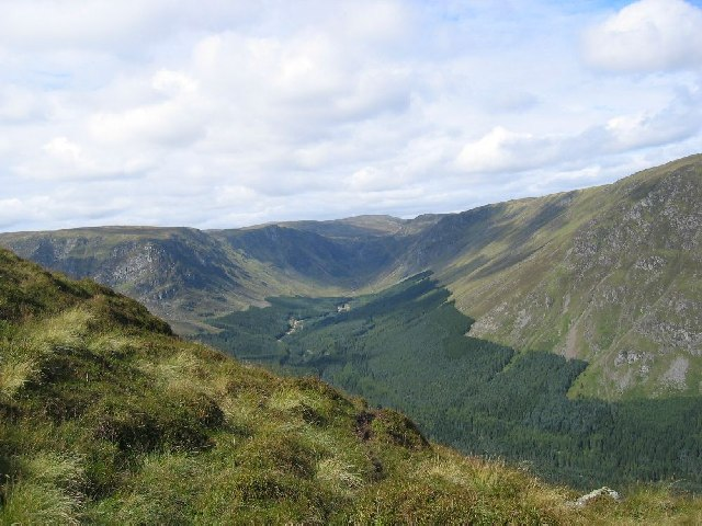 Looking into Glen Doll from the Scorrie