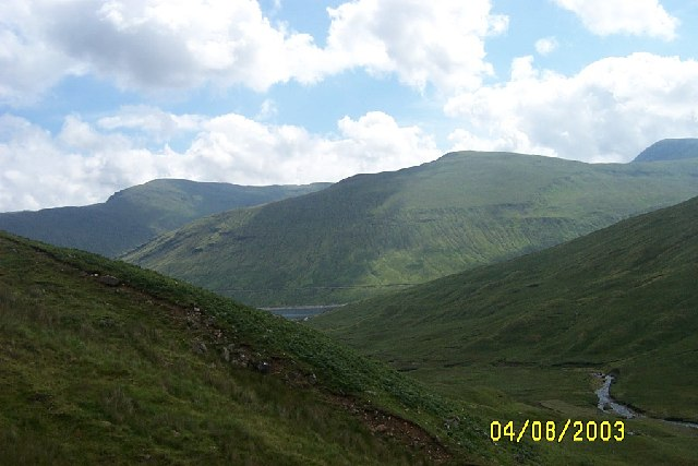 Looking east fromslopes of Ben Mhanach down Allt Tarabhan towards Loch Lyon
