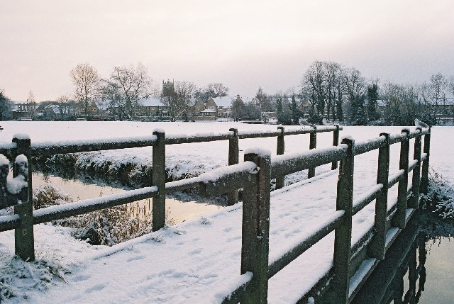 Stamford Meadows footbridge in the snow