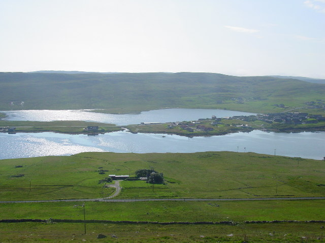 Loch of Hellister from the viewpoint on the A971