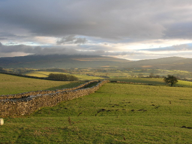 Walled green lane below Great Ewe Fell