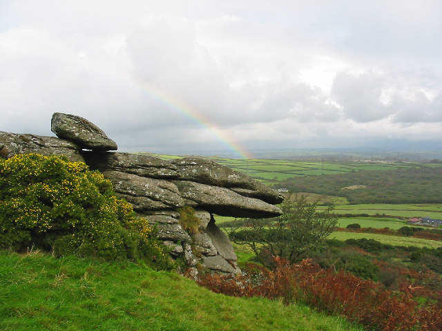 Rock and rainbow HelmanTor Cornwall