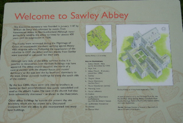 Information board at Sawley Abbey