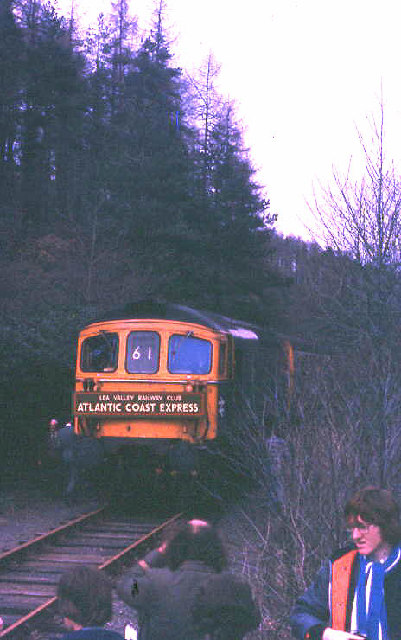 Watergate Halt; last public train, Lea Valley Rly Club railtour in 1980
