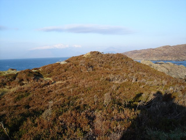 Heathery hilltop on Sleat coast.