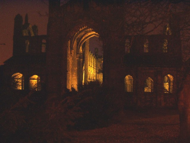 Kirkstall Abbey at night, Leeds