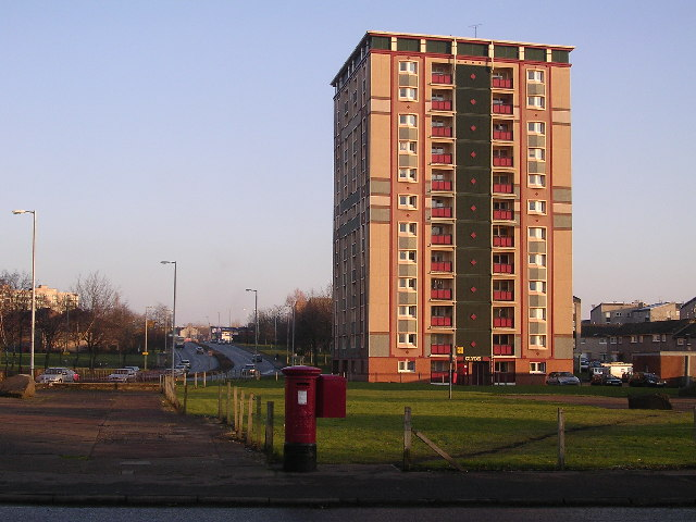 Postbox and Tower Block, Motherwell