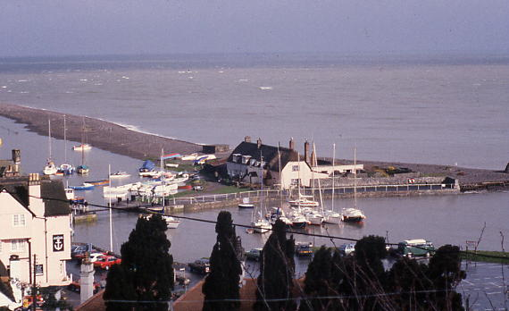 Porlock Weir from Lanehead cottages, very high tide