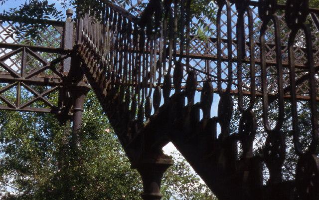 Metal footbridge over disused railway