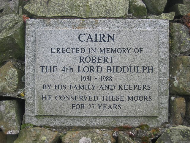 Plaque on the memorial cairn.