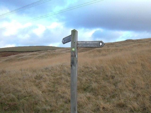 Pennine Bridleway signpost on Clegg Moor