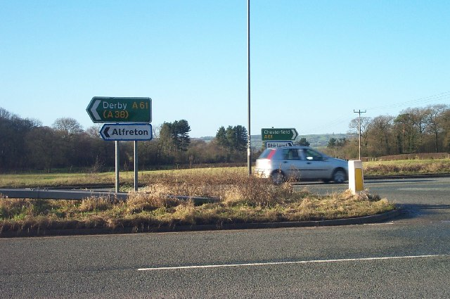 Road signs at junction near Alfreton
