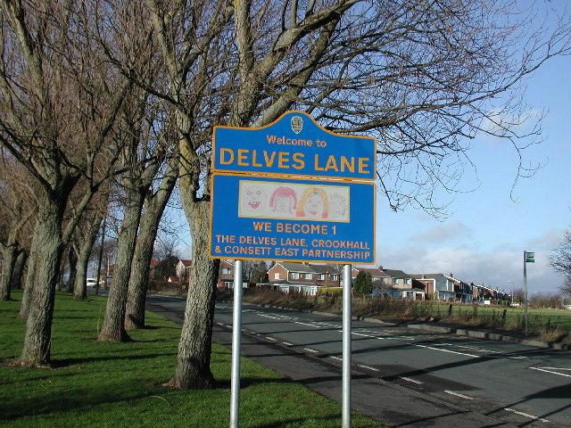 Delves Lane road sign