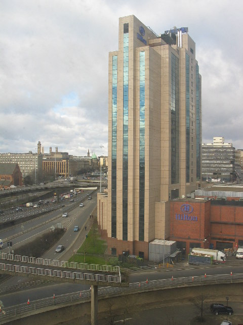 Glasgow Hilton Hotel and M8 motorway to left.