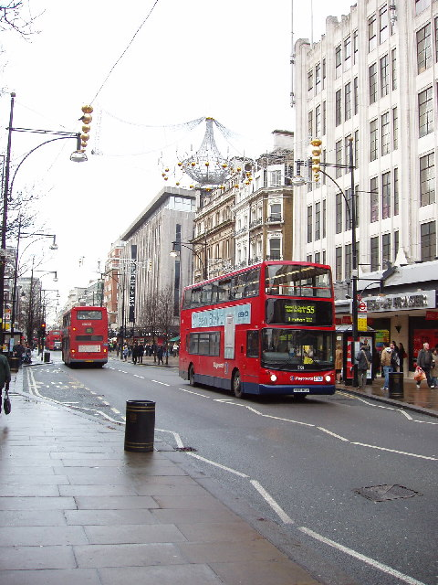 Oxford Street with red double-decker buses
