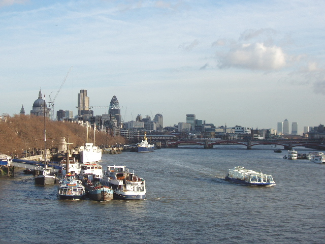 Temple Pier and river boats, view from Waterloo Bridge