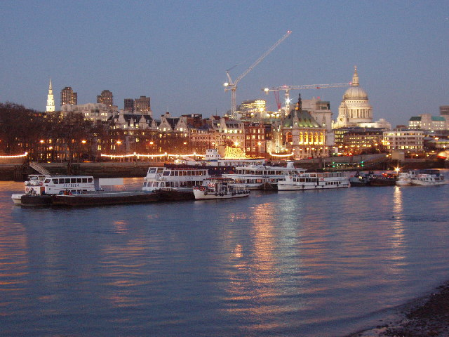 River boats and Victoria Embankment, evening
