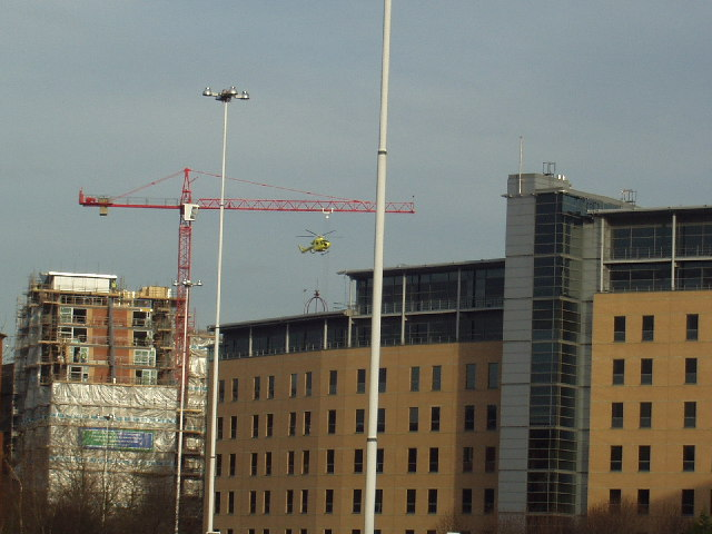 Air Ambulance landing at Leeds General Infirmary
